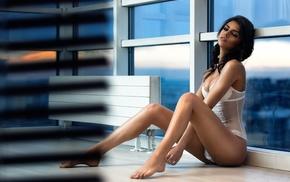 Elizaveta Obolenskaya, girl, white lingerie, ass, lingerie, model