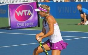 pigtails, Catherine Cartan Bellis, blonde, girl, tennis courts, tennis