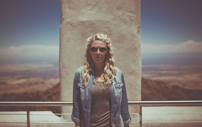 denim, long hair, fashion, jacket, sunglasses, blonde