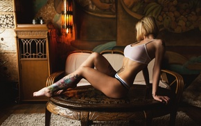 model, Justin Swain, panties, white tops, tattoo, table