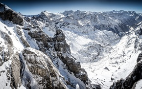 cliff, Switzerland, mountains, titlis, snowy peak, snow