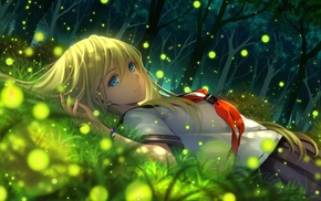 anime girls, original characters, anime, grass