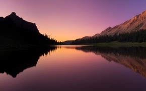 mountains, nature, sunset, trees, water, lake