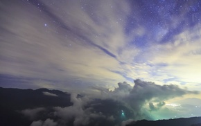 landscape, nature, clouds, photography, mountains, night