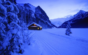 mountains, hut, trees, photography, snow, landscape