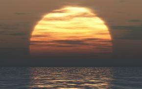 digital art, water, sunset, sea