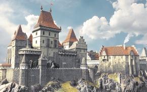 castle, artwork, fantasy art