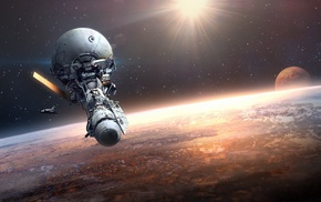artwork, science fiction, spaceship