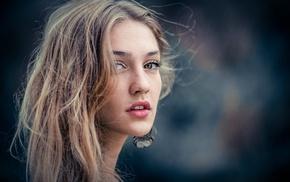 depth of field, face, wavy hair, eyes, girl, Michael Kafka