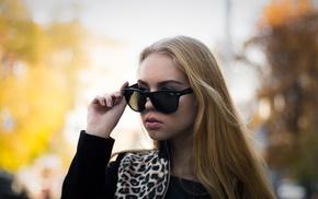 blonde, girl, sunglasses, fashion, nails, hair