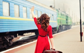 brunette, red, model, hair, train, dress