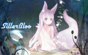 tail, anime, long hair, kitsunemimi, swamp, animal ears