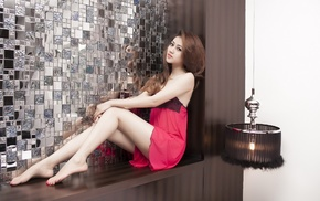 hair, girl, sitting, pink dress, model, legs