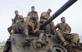 Shia LaBeouf, movies, Brad Pitt, Logan Lerman, Fury, Fury movie