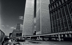 city, cityscape, World Trade Center, Twin Towers, men, old photos