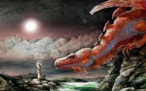 dragon, nature, night, stone, clouds, rock