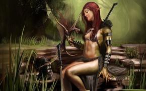redhead, warrior, nature, digital art, girl, dragon