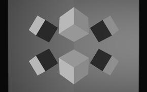 monochrome, cube, symmetry