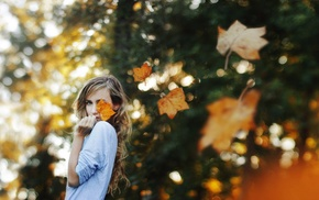 girl, model, bokeh, fall, girl outdoors, blonde