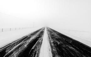road, snow, winter, landscape