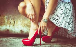 girl, hands, high heels, model, clocks, feet