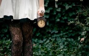 girl, clocks, girl outdoors, stockings