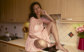 girl, model, sitting, kitchen