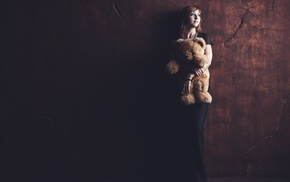 wall, model, teddy bears, girl