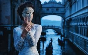 model, venetian masks, girl, mask, Venice