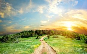 landscape, clouds, sunlight, nature, panorama