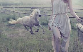 girl, animals, horse, dress, model, girl outdoors