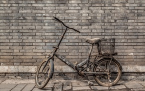 bicycle, wall, old