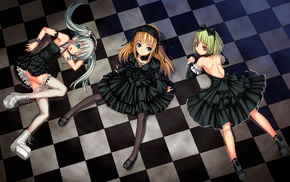 Gothic, anime, lolita fashion, original characters, checkered, Bosshi