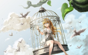 cages, anime girls, sky, birds, artwork, original characters