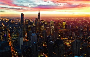 city, sky, Chicago, sunset, building, lights