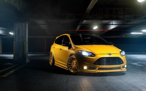 tuning, ford focus, car, Ford Focus ST, yellow, Ford