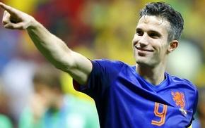 men, soccer, footballers, Robin van Persie, smiling, Netherlands