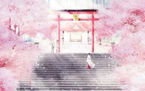 Noragami, cherry blossom, cherry trees, shrine, Iki Hiyori