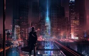 futuristic, cyber, silhouette, futuristic city, glowing, skyscraper
