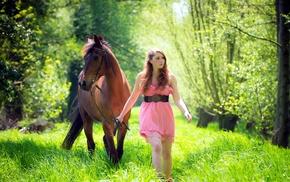 girl outdoors, model, horse, green, girl, nature