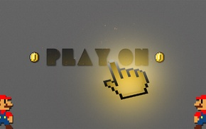 PlayStation, playing, cursor, play, Super Mario, 2D