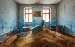 interior, house, abandoned, sand, old