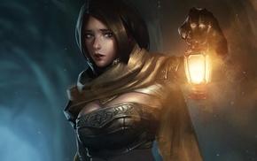 lantern, fantasy art, girl