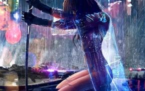 warrior, girl, futuristic, fantasy art, sword