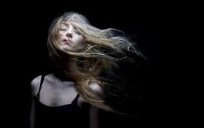 girl, face, simple background, black, model, long hair