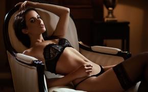 girl, black lingerie, Rikie Maarten Quaadvliet, model, Maarten Quaadvliet, sitting
