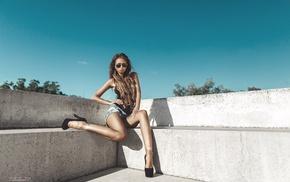 high heels, sunglasses, jean shorts, girl, sitting, Mikhail Nakhimovich