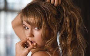 Anastasia Scheglova, face, model, blonde, looking at viewer, portrait