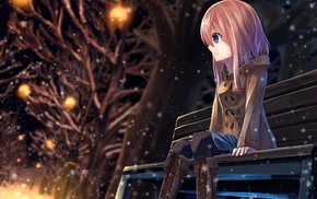 pink hair, snow, anime girls, anime, original characters, winter