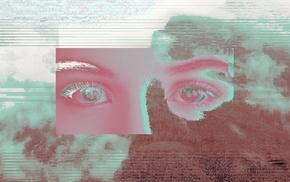 mountains, glitch art, eyes